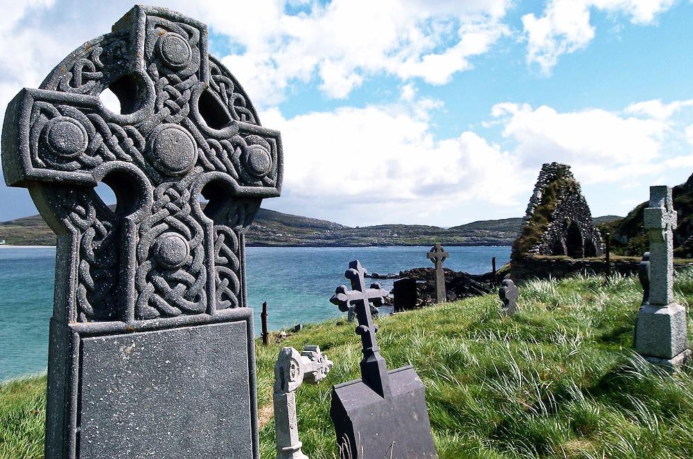 Gravestones in Derrynane Abbey